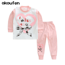 okoufen 2017 new brand Children underwear clothes  sets best quality cotton baby girl and boy clothing sets kids body suit