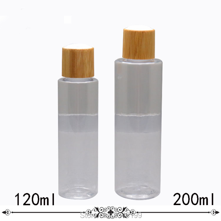 100ML 120ML 200ML 10&20pcs/lot DIY Empty Cosmetic Emulsion Bottle, Plastic Clear Toner Bamboo Container, PET Cosmetic Bottle three 100ml