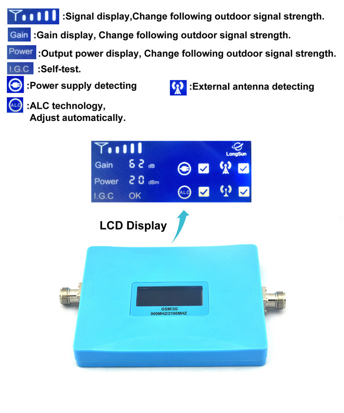TianLuan affichage intelligent double bande téléphone Mobile 2G 3G Signal Booster GSM 900 mhz W-CDMA 2100 mhz Signal répéteur amplificateur ensemble complet - 2