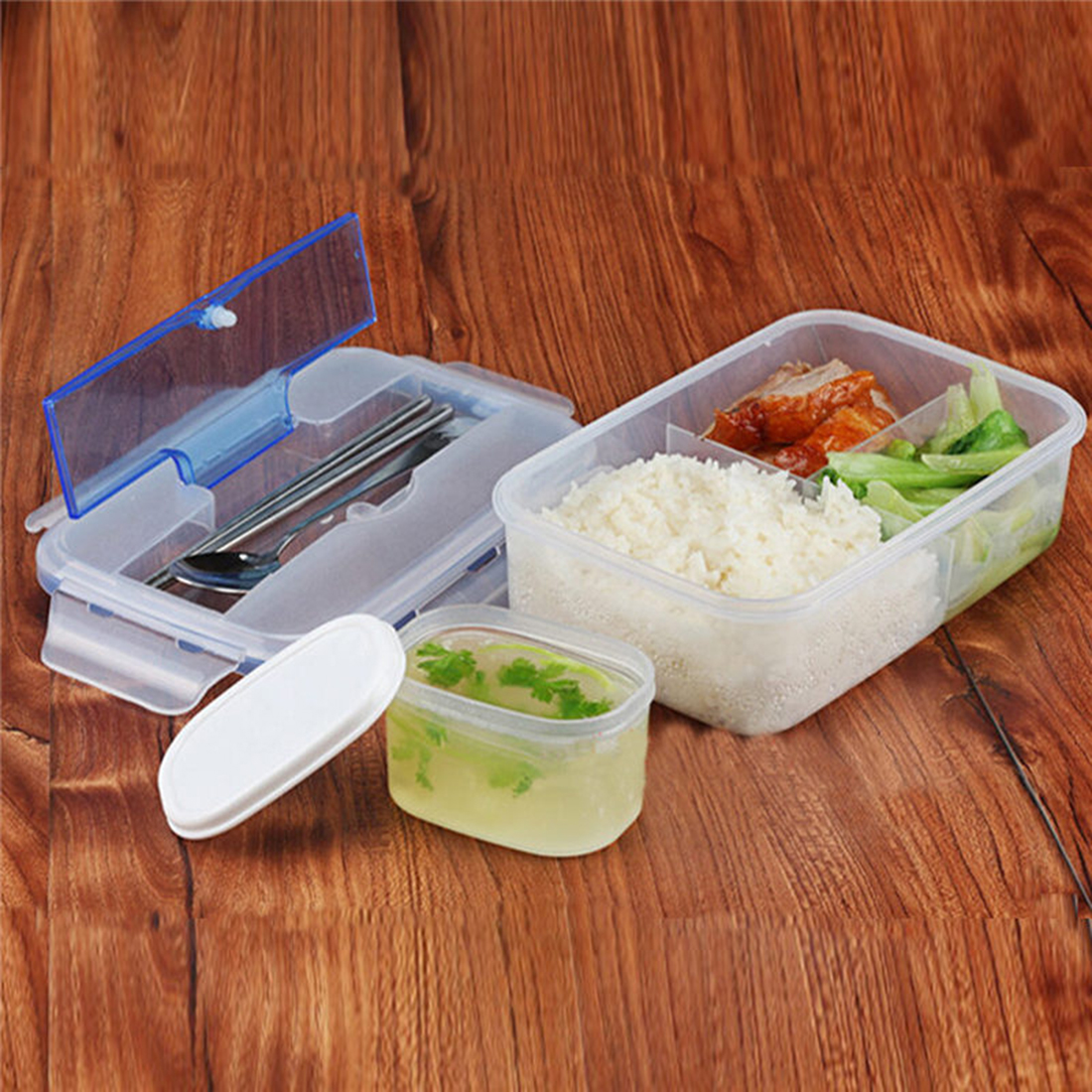 Modern Ecofriendly Outdoor Portable Microwave Lunch Box with Soup Bowl Chopsticks Spoon Food Containers