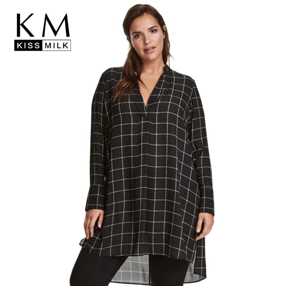 Kissmilk big size new fashion women clothing casual basic Women s long sleeve shirt dress