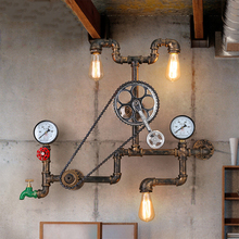 Vintage retro loft industrial light personality loft gear wall lamps water pipe Restaurant Bar shop Cafe aisle bedroom bra lamp three bulbs wooden base decoration water pipe desk lamp used for restaurant cafe bar bedroom