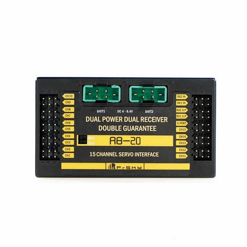 Frsky RB-20 doble potencia doble receptor telemetría interruptor automático y salida de corriente máxima de hasta 10 A para modelos RC multicopter DIY ACC