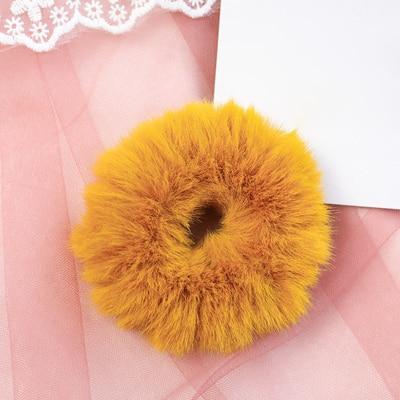 Новое поступление, зимняя эластичная резинка для волос, Тиара для волос для взрослых, простая однотонная мягкая плюшевая повязка для волос, повязка для волос для женщин, аксессуары для волос - Цвет: Yellow