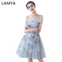 LAMYA Short Printing Sleeveless Bridesmaid Dresses Simple Sexy Party Dresses For Wedding Under 50 Vestidos De