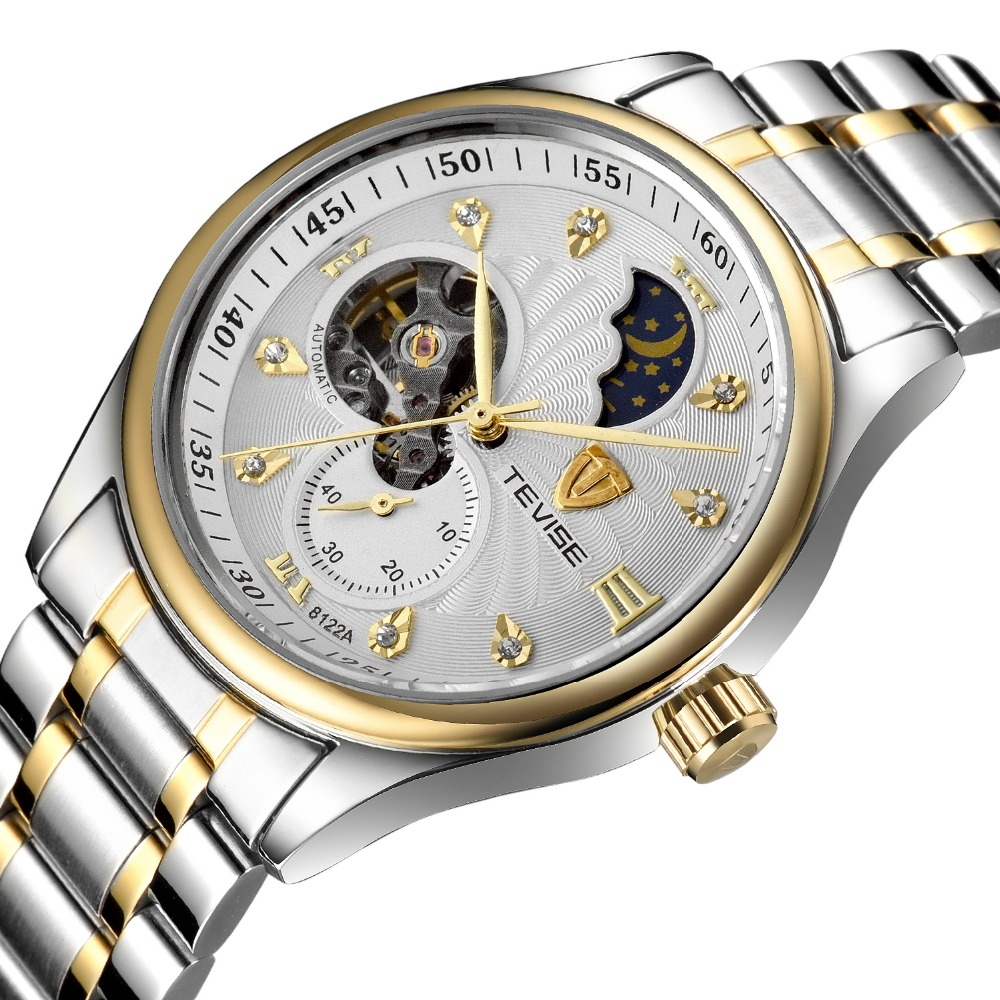 ФОТО Tevise Business Mechanical Watches Stainless Steel Band Wristwatches Men Luxury Brand Waterproof Black White Gift