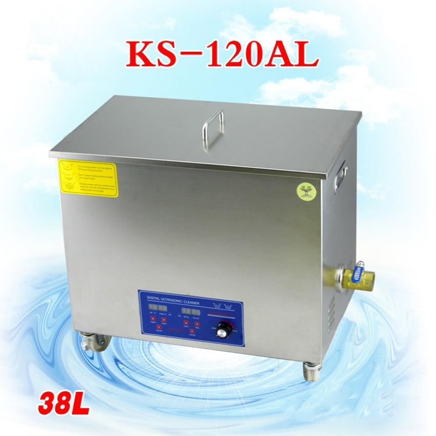 1PC 38L Ultrasonic Cleaner KS-120AL Komponen Elektronik / Barang Kemas / Kaca / Papan Litar / Mesin Pembersihan Makanan Laut