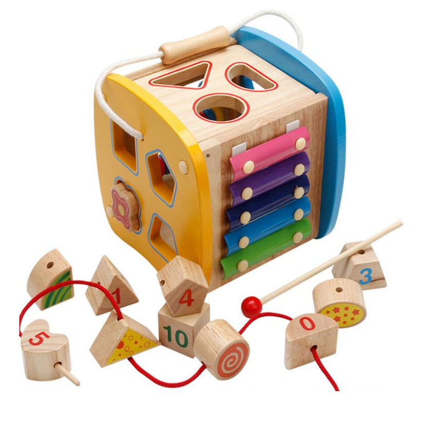 все цены на 2018 New Baby Geometry Shape Matching Wooden Building Blocks Multi-Functional Intelligence Box Education Toys For Children онлайн