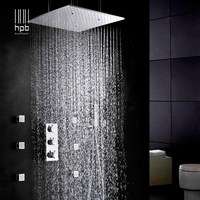 HPB luxury 20inch 50x50cm stainless steel shower head bathroom thermostatic mixer rain shower set ceiling mounting 009 20W F