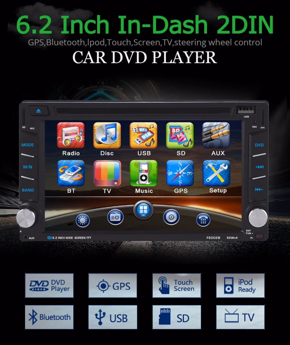 """6.2"""" Universal GPS Navigation Car DVD Player 2 Din Touch Screen 800*480 Bluetooth V2.0 Stereo Radio Audio Player with Free Map"""