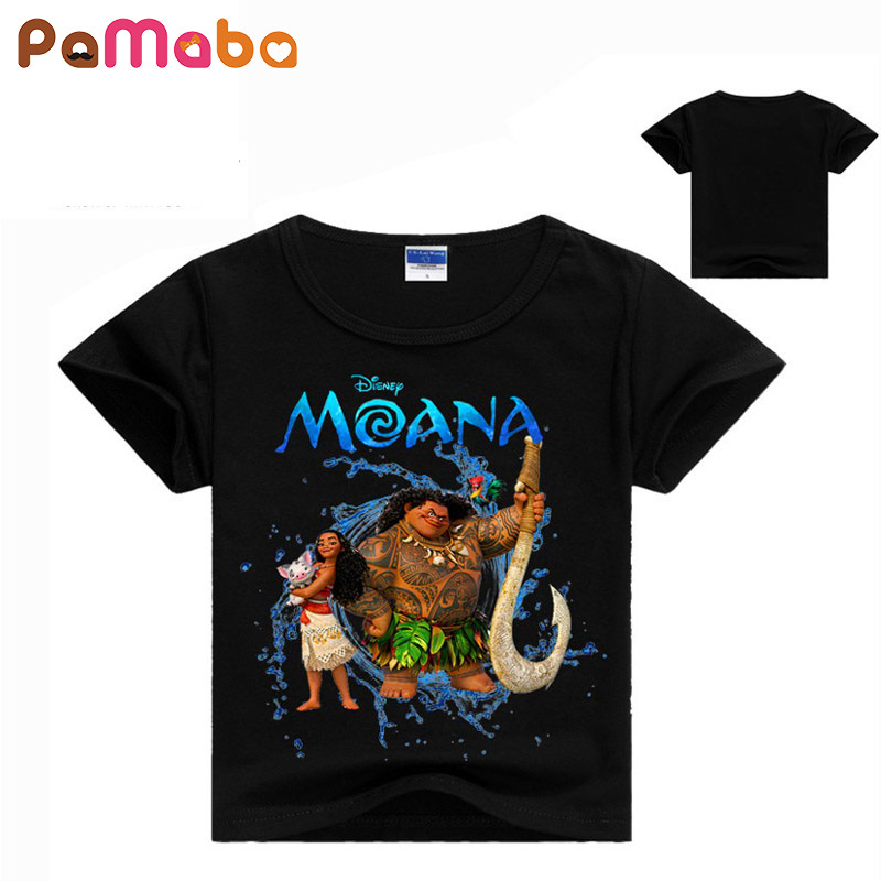 PaMaBa 100% Cotton Children's Summer T-shirts The Moana Child Short Sleeve T-shirt With Printing Character Pattern Unisex O-Neck