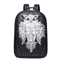 3D Owl Skull Embossing Rivet Black Purse Satchel Man Backpack Halloween Stylish Cool PU Leather Laptop