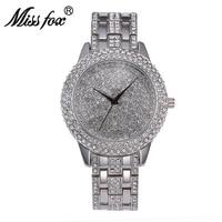 2019 Miss Fox Full Diamond Luxury Watch Women Rhinestone Missfox Horloges Vrouwen Gold Gift For Girls Sobretudo Relogio Feminino