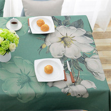 Rural cotton linen tablecloth green bottom flower waterproof and rectangular printing coffee table art