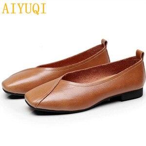 Image 3 - AIYUQI flat shoes  2020 new autumn genuine leather women flat shoes onon slip Plus Size 35 43 Women casual shoes