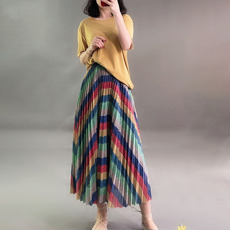 Qooth Summer Women Elegant Sequins Fabric Pleated Skirt Elastic Waist Rainbow Color Striped Maxi Skirt Female