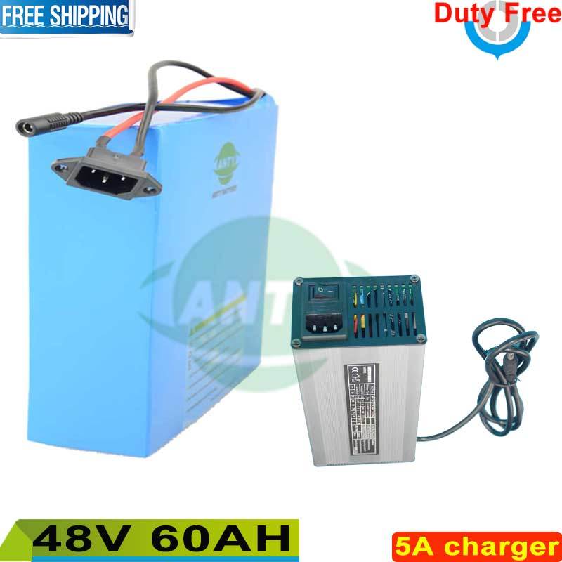 High Safety Electric Bike Battery 48V 60Ah Lithium Battery Pack 2800W eBike Battery 48v with 5A Charger Duty and Shipping Free free shipping customs duty hailong battery 48v 10ah lithium ion battery pack 48 volts battery for electric bike with charger