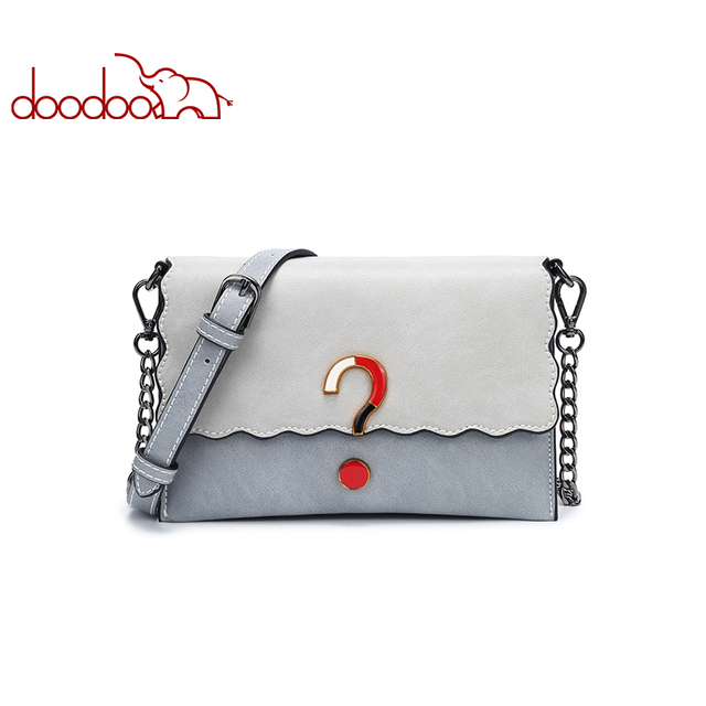 DOODOO Brand Women Bag Female Shoulder Crossbody Bags Chain Artificial Leather New Stitching Question Mark Pattern Messenger Bag