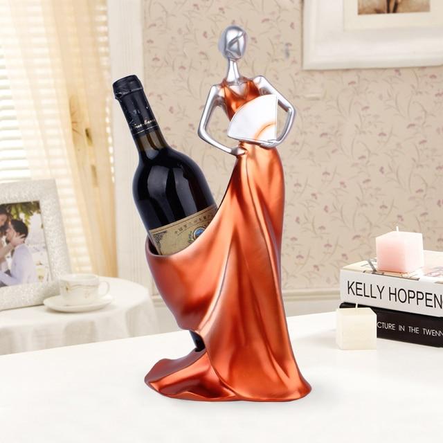 Creative Home Decorative Figurines Ornaments Modern Minimalist Blue Take Fan Beauty Wine Rack Decoration Creative Wedding Craft 3