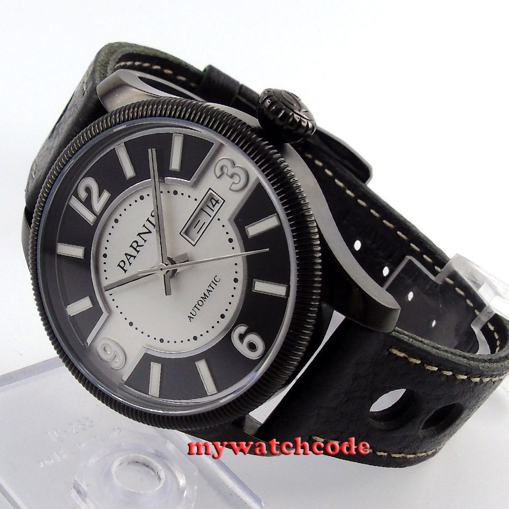 42mm Parnis black dial PVD Sapphire Glass miyota Automatic mens Watch P414 цена и фото