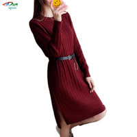 JQNZHNL2017 Autumn Winter New Fashion Knit Dresses Loose Loose Large Size Casual Round Neck Long-Sleeved Warm Women Dress A334