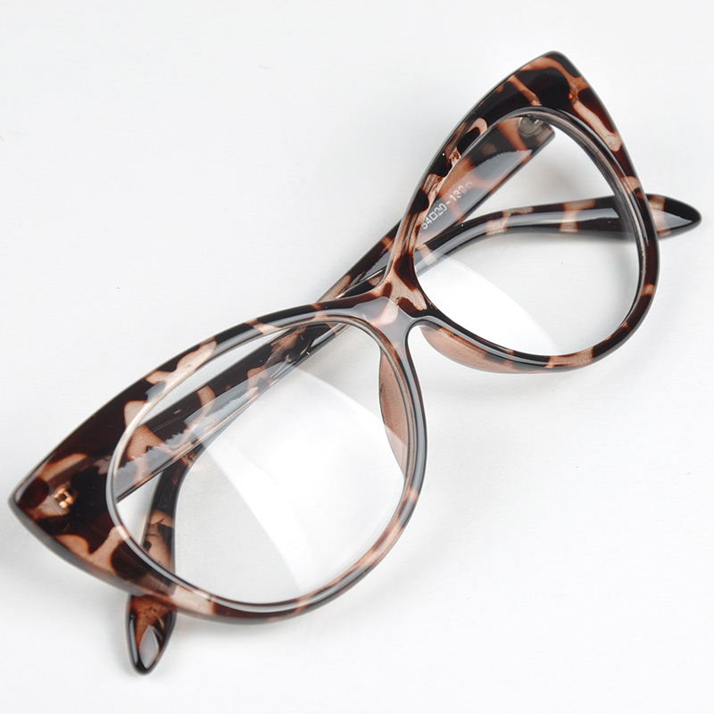 Plain Eye Frame Spectacle Cat Eye Glasses Eye Styling Leopard Eyeglasses Frame Women Brand Birthday Gift