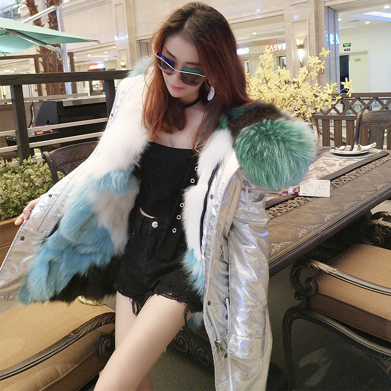 Hot 2017 New Silver Long Winter Jacket Miegofce Women Luxurious Large Raccoon Fur Collar Hooded Coat Warm Fox Fur Liner Parkas 2017 winter new clothes to overcome the coat of women in the long reed rabbit hair fur fur coat fox raccoon fur collar