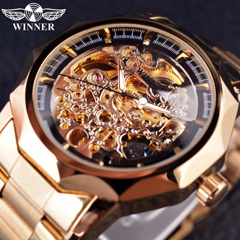 Winner Royal Carving Series Golden Luxury Stainless Steel Skeleton Male Wrist Watch Men Watches Top Brand