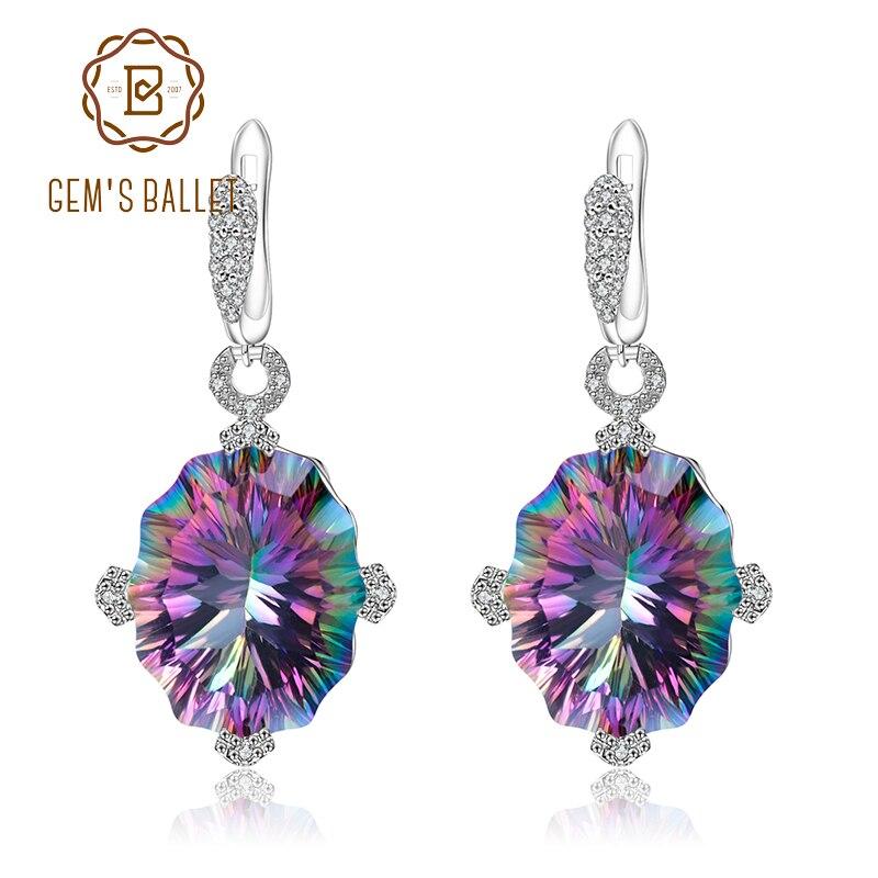 GEM'S balet 48.42Ct naturalne Rainbow Mystic kwarcowy kolczyki 925 Sterling Silver Vintage spadek kolczyki dla kobiet w porządku biżuteria w Kolczyki od Biżuteria i akcesoria na  Grupa 1
