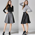 2017 New Fashion Women Skirts Autumn A-line Leather Skirts Vintage High Waist Bow Saias Solid Faldas Midi Length Europe Style