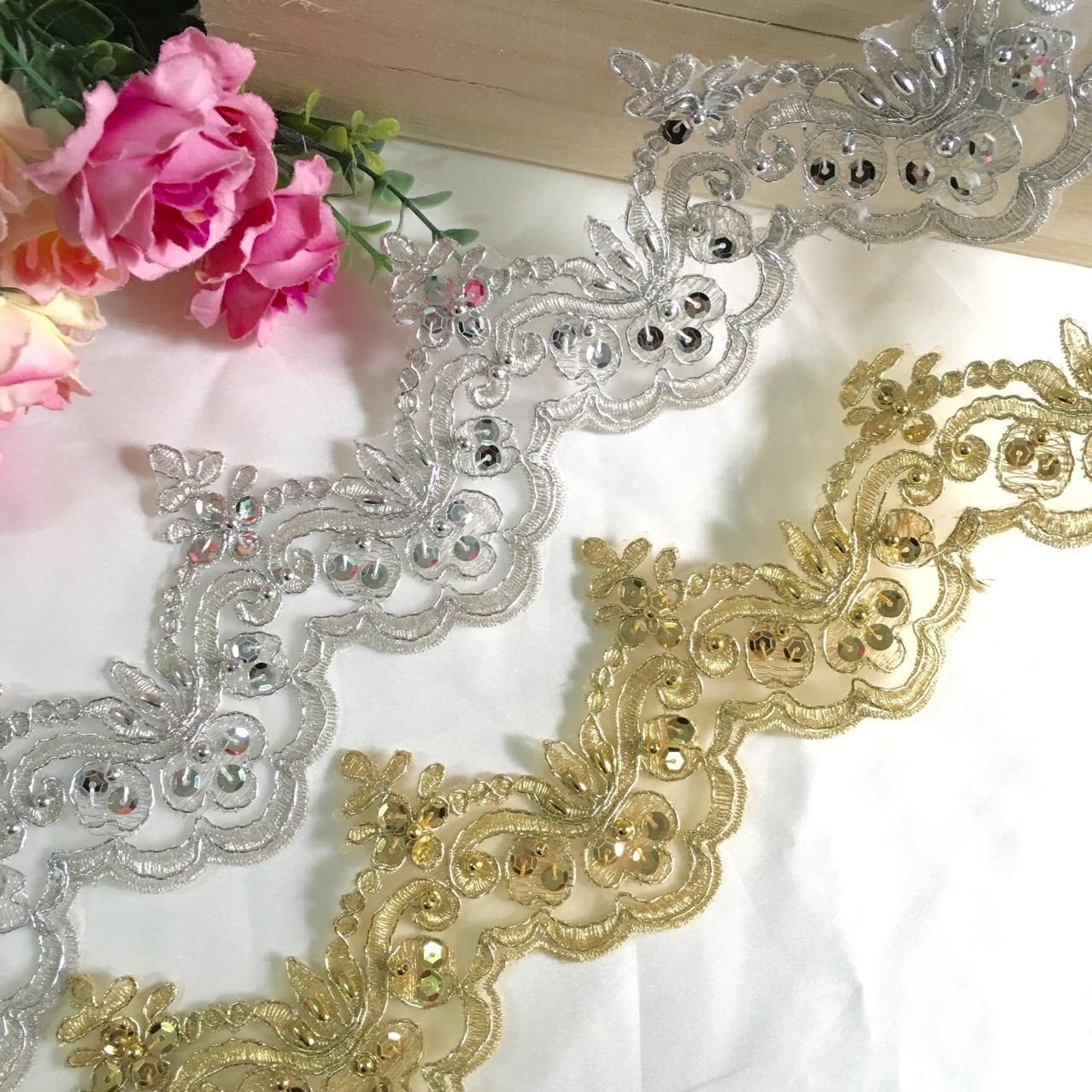 3 ярда/лот классические цвета: золотистый, серебристый бисер автомобиль кости Кружева отделка одежды свадебное платье из фатина с блестками...