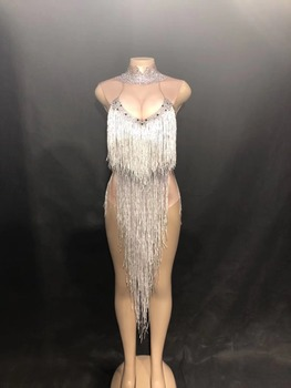 Women New Sexy Long Silver Tassel Bodysuit Performance Sparkling Rhinestone Jumpsuit Nightclub Party Singer Dancer Stage Wear