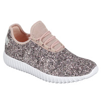 FM74 Women S Lace Up Glitter White Sole Street Sneakers