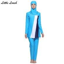 Women Patchwork Muslim Swimwear Islamic Swimsuit For Muslima Covered Swim Suits Long Sleeve Bathing Wear Plus Size 2017 Newest