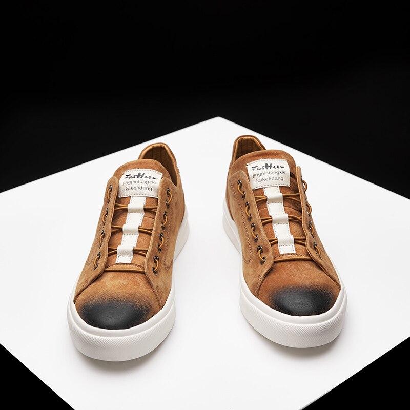 Chaussures Confortable ardoisé Casual Véritable Lace Hommes En Zapatos Marron Cuir vert Paresseux Up Hombre Sneakers wIq4dH