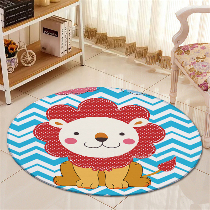 Cartoon Cute Lion Carpet Chair Mat Flannel Area rug Baby Crawling Rugs Yoga Mats Kids Bed Room Big Round Carpet For Living Room