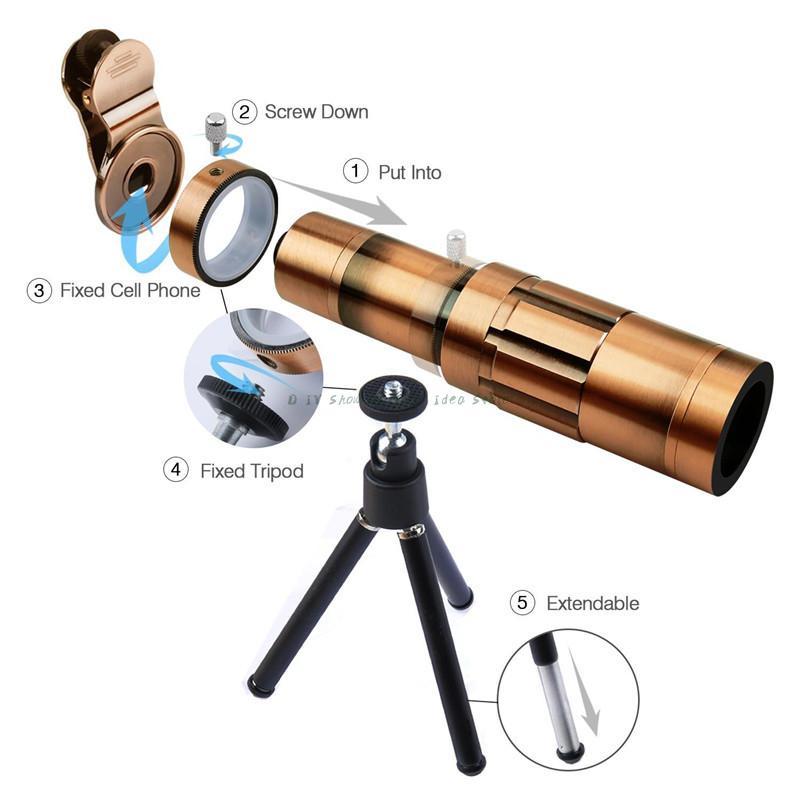 Universal 20X Zoom 4 K HD equipo de lente de la cámara del teléfono telefoto enfoque Manual lente óptica telescópica para Sony para Huawei para Galaxy S9 - 3