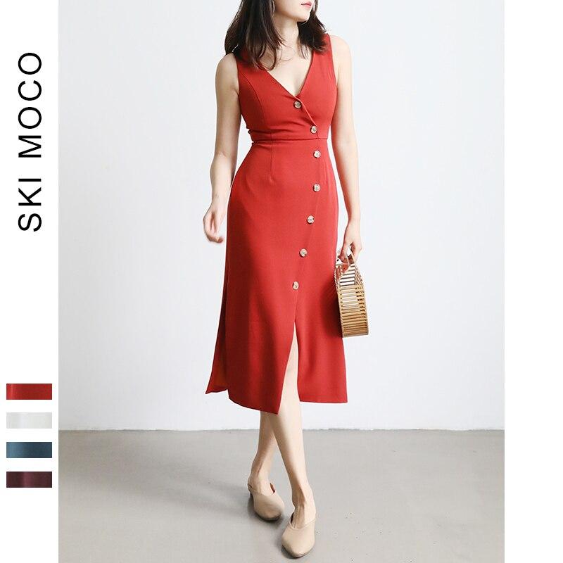 Elegant Pencil Sheath Bodycon Dress Button Split Slim V Neck Solid Slim Club Party Vestido Casual