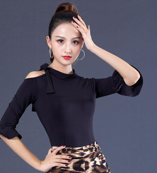 2019 New Sexy Dance Clothes Top Women Latin Salsa Rumba Chacha Dance Jacket Performance Practice Costume  YR0903