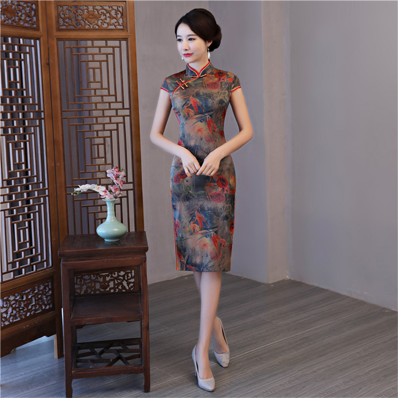 Brown Chinese Vintage Print Flower Slim Dress Sexy Satin Women Kenn-Length Cheongsam Novelty Handmade Button Qipao M-3XL