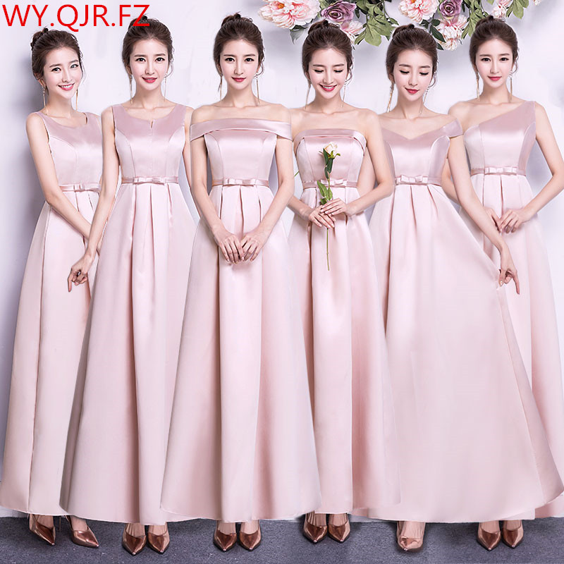 ASL-CK#Boat Neck Peach pink long Twill satin   Bridesmaid     Dresses   wedding party   dress   gown prom women's fashion cheap wholesale