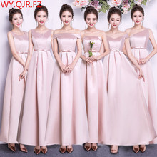 ASL CK # Boot ausschnitt Pfirsich rosa lange Köper satin Brautjungfer Kleider hochzeit kleid kleid prom frauen mode günstige großhandel