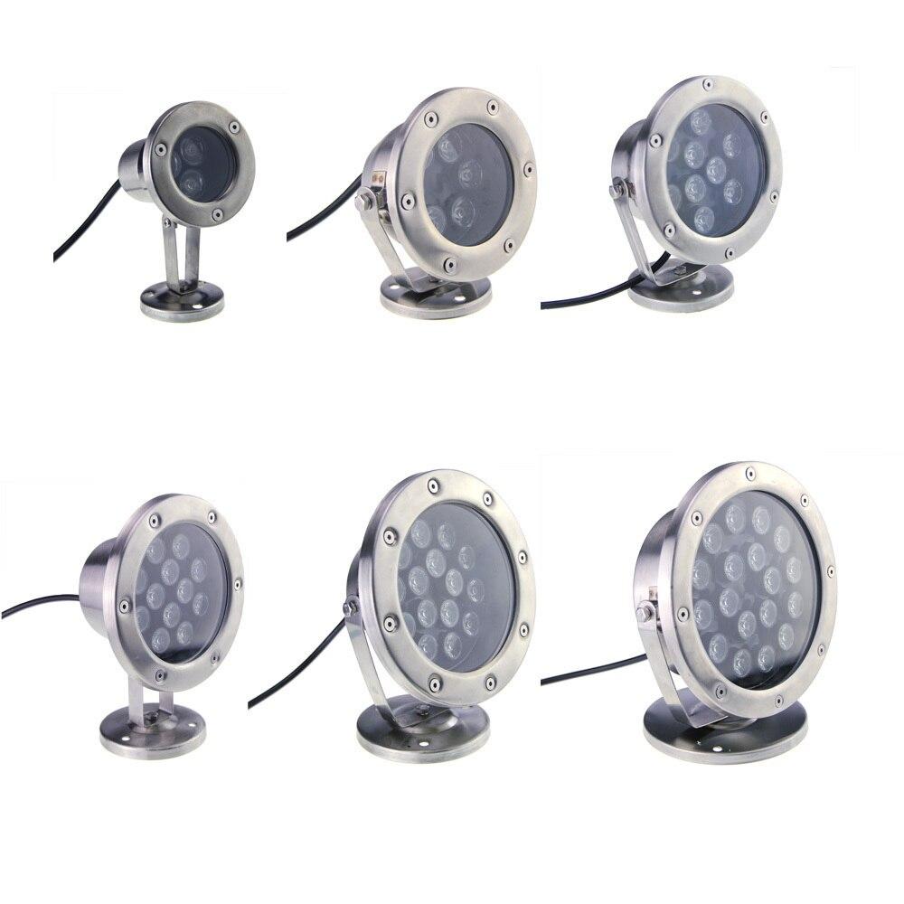 Melhor preço 6 W/12 W/18 W/24 W/30 W/36 W Vermelho verde Azul IP68 CREE LED Underwater Tanque de Peixes de aquário Piscina RGB Spot light lâmpada 12 V AC DC