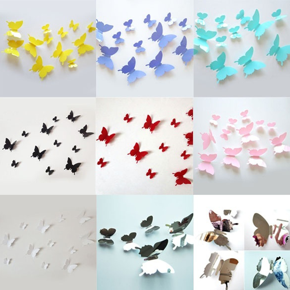 Sticky paper for crafts - Paper Crafts 12pcs Multicolor Stereoscopic Beauty Butterfly Romantic 3d Wall Paper Living Kids Home Creative Design