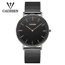 цена New CADISEN Fashion Mens Watches Top Brand Luxury Quartz Watch Men Casual Full Steel Waterproof Sport Watch Relogio Masculino онлайн в 2017 году
