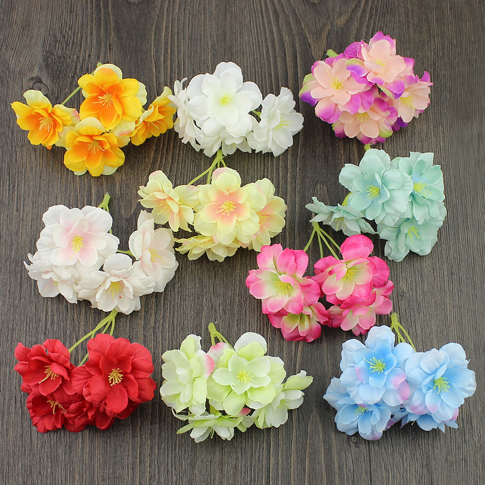 5pieces Artificial Hydrangea Head silk Cherry blossoms flowers for wedding Wrearths hair wrist corsage decoration Fake flower