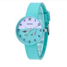 Lovely children cartoon small fish pattern candy color student silica gel