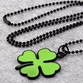 NYUKI 10PCS/Lot 4 Color Personality Lucky Four-Leaf Clover Pendant Necklace Hiphop Ornaments Strap With Chain For Men Women