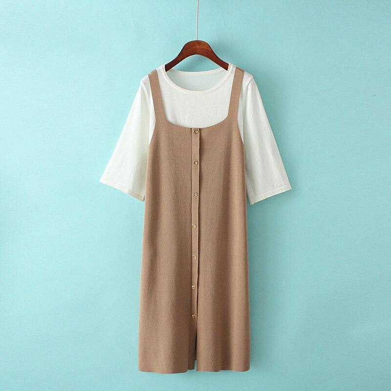 s8b Korean version of the new short sleeved T shirt knit suspender dress set 2019 small