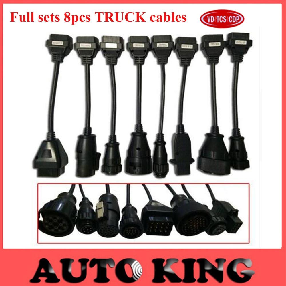 imágenes para Envío gratis sistema completo 8 unids camiones TCS cables funciona en vd CDP WOW snooper/herramienta de diagnóstico multidiag pro TCS conector de cable en stock